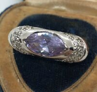 Vintage Sterling Silver Ring 925 Size 6.5 Amethyst Stone Cz
