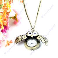 Bronze Quartz Pocket Watch Open Close Wing Owl Pendant Necklace Chain Gift