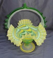 Vintage Art Glass Made in Egypt Frosted Basket Ruffle Edge Yellow Green Clear