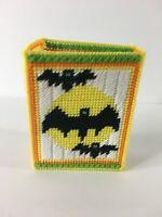 Handmade Needlepoint Plastic Canvas Tissue Box Cover Halloween Bats