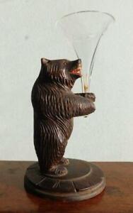 Black Forest Folk Art Bear Carving Holds Epergne Glass Trumpet Vase 1900s