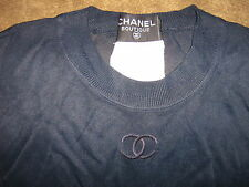 CHANEL AUTH HUGE CC LOGO NAVY SHEER FINE SILK KNIT DRESSY HIPPIE CHIC TOP 34/36
