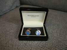 James Savile Row With Original Box Silver and Blue Cufflinks By Richard