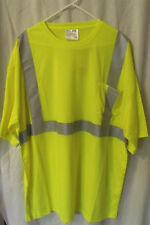 Mens NWT Corner Stone Safety Yellow T Shirt Reflective Stripes Size 3XL