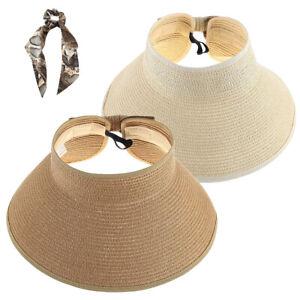 2 Packs Sun Visor Hats for Women Wide Brim Foldable Summer Straw Beach Hat