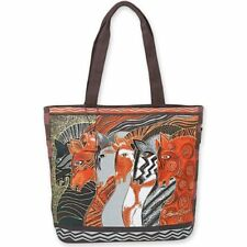 "Laurel Burch Moroccan Mares Shoulder Tote Bag Zipper Top, 18"" x 15"" x 5"""