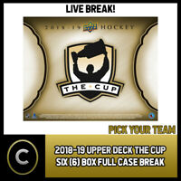 2018-19 UPPER DECK THE CUP 6 BOX (FULL CASE) BREAK #H582 - PICK YOUR TEAM -