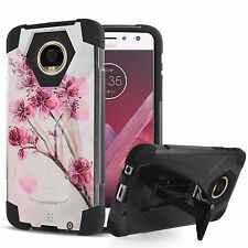 Rugged Dual Layered Case w/Stand Cover for Motorola Moto Z2 Force Z2 Play