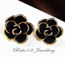 Black Rose/Camellia/Flower/Stud Earring/Rose gold/RE003
