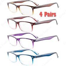 4 Pairs Womens Mens Flexible Power Reading Reader Rectangular Clear Glasses 1-3