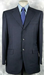 SUPERB_NWT_$3495 ISAIA CRAFTED_BY_HAND_SUPER 12O_ULTRA_DARK_NAVY 48-49R 10542
