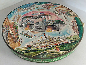 VINTAGE 1969 SPRINGBOK CIRCULAR JIGSAW PUZZLE FAMOUS AMERICAN STEAMBOATS