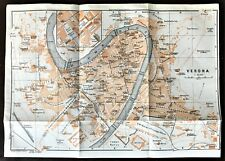 1909 ANTIQUE COLOR CITY MAP PLAN  of  VERONA, ITALY ~ Authentic  Baedeker
