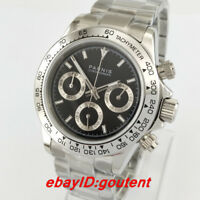 39mm PARNIS black dial sapphire glass full Chronograph quartz steel mens watch