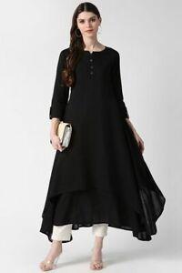 Indian Women New Designer Black Cotton A-Line Kurta Kurti Ethnic Top Tunic Dress