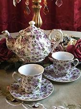 Purple Violets Tea Set: 6 Cup Porcelain Tea Pot and 2 Adult Cups & Saucers