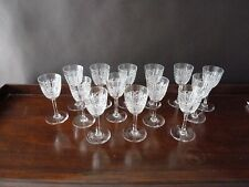 14 Antique Crystal Sherry Glasses, Art Deco 1920's