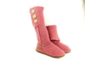 UGG Australia Cardy Women's Boots Knit Tall Pink Crochet Sweater Button Shoes 6