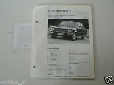 O58--OPEL REKORD D 1972 STATIONCAR,SPRINT,COACH,SEDAN ,TECHNICAL INFO CAR