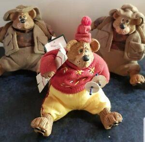 3 Russ Berrie - The Country Folk Collection Ceramic 2 x kyak & 1 Ski Bears