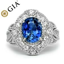 GIA Certified 4.11ct Natural Blue Sapphire Platinum Ring 30p 0.94ct VS/G DIAMOND