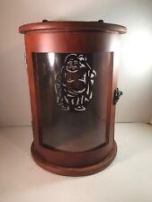 """Display Cabinet Wooden Pyrat Rum Fat Man Latched Door Metal Handle 9.25"""" Tall"""