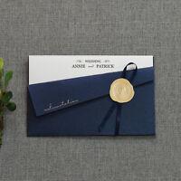 Elegant wedding invitations Personalized navy pocket invitation card PB002_NAVY
