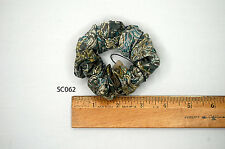Silk Scrunchies Ponytail Holder Elastic Ties Hair Band Green Taupe Floral SC062