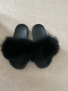 Real Fur Black Sliders UK7/8