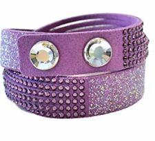 Bracciale Swarovski Slake viola 2 in 1 alcantara Donna bracelet 5169277 new 36cm