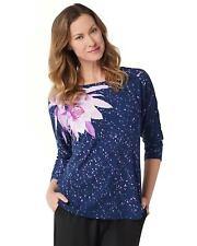Bob Mackie Womens Water Lily Splash Print Knit Top Large Navy Purple A347432