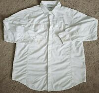 Columbia Omni-Shade Button Up Jacket Style Shirt XL Mens White Sun Protection