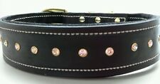 Large Black Leather Dog Collar with Suede Inner Lining & Gold Clear Crystals