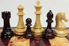 "LARGE STAUNTON BURGUNDY & NATURAL HIGH GLOSS 4 1/4"" KING CHESS MEN SET -NO BOARD"