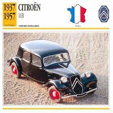 Citroën Traction Avant 11B 4 Cyl. 1937-1957 France CAR VOITURE CARTE CARD FICHE