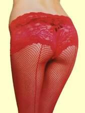 Netzstrumpfhose Nylonstrumpfhose mit Höschen aus Spitze Gr. XS, S, M, L # 73 rot