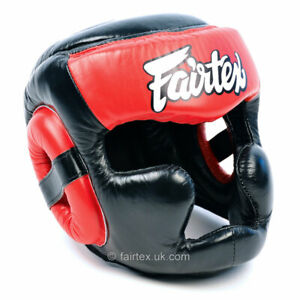 Fairtex HG13 Leather Full Face Head Guard Muay Thai Kick Boxing Sparring Helmet