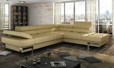Designer Corner Sofa Bed Ricardo 15 colours available, CHROM FEET SPRING SALE!