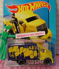 Case H 2015 Hot Wheels HIWAY HAULER 2 #28 Win∞Yellow/Blue;Balloons∞Art Cars∞NEW