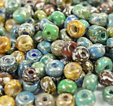 "Czech Aged Glass Seed Beads Size 31/0 "" PICASSO MARBLE MIXTURE "" 50 Grams Loose"