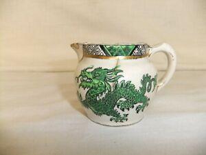 c4 Maling pottery RARE pattern no.2293 Green Chinese Dragon Cream jug 1920s R1