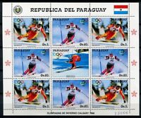 Paraguay 1987 Olympiade Olympics Calgary Skisport 4178-4179 Kleinbogen MNH