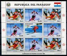 Paraguay 1987 Olympiade Olympics Calgary Skisport 4178-4179 Kleinbogen MNH