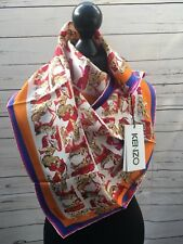 KENZO CREAM RED ORANGE PINK TIGER  PRINT SCARF M673