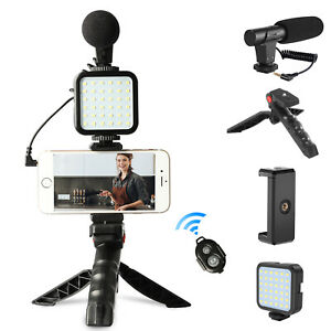 LED Video Light Mic Tripod Kit +Bluetooth Remote for Phone Camera Video Vlogging