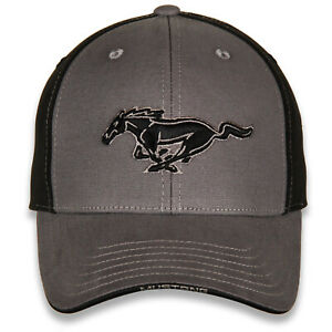 Black & Grey Running Horse Mustang Hat-  Free USA Shipping On This Cool Ford Cap