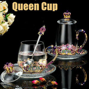 QUEEN Afternoon High Scented Tea Cup Glass Juice Coffee Tea Cup Bottle Set of 4