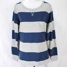 Eddie Bauer Sweatshirt XL Tall Blue Gray Stripe Long Sleeve Cotton Pullover TXL