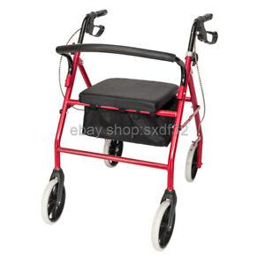 450lb Medical Bariatric Rollator Folding Rolling Walker Adult 4 Wheels Red