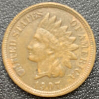1907 US Indian Head Cent Penny, Exact Coin, Details, FAST FREE SHIPPING! *3107
